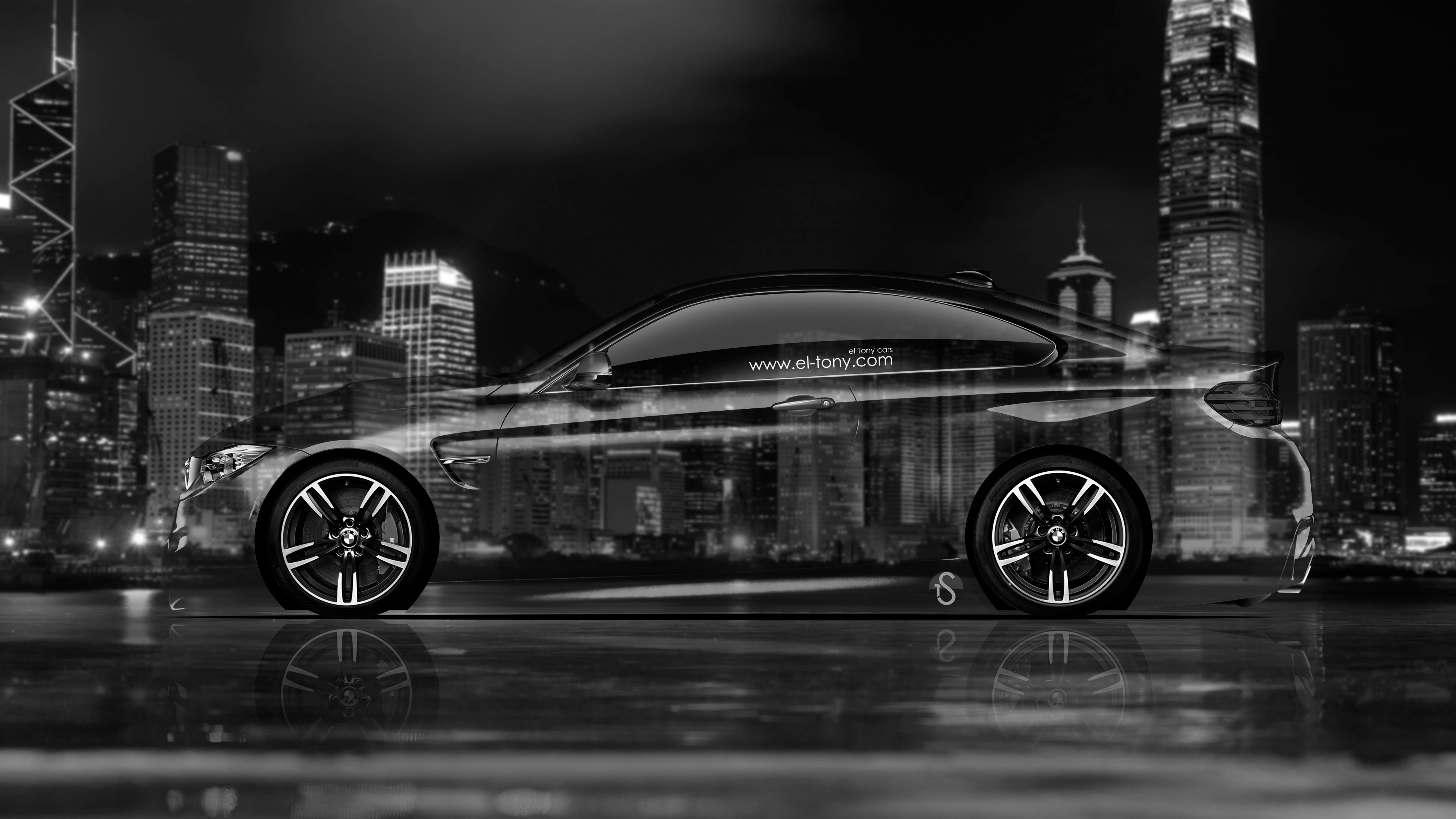 BMW-M4-Coupe-Side-Crystal-City-Car-2014-Black-White-4K-Wallpapers-design-by-Tony-Kokhan-www.el-tony.com_